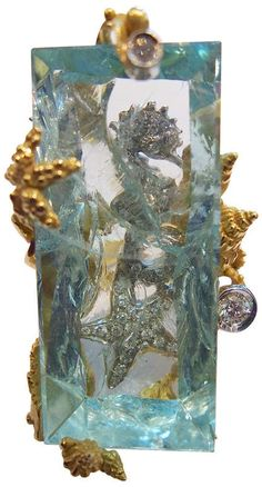 Massimo Izzo aquamarine, diamonds & yellow gold ring representing Sea Life