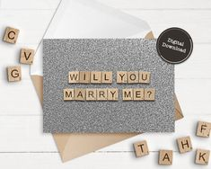 Marriage Proposal  Scrabble Letters  Digital Download  image 1 Scrabble Tile Art, Scrabble Letters, Printable Checks, Printable Cards, Scrabble Wedding, Happy Birthday Printable, Marriage Proposals, Announcement Cards, Online Printing