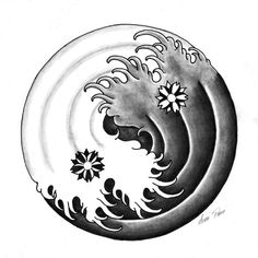 A ying yang design with some waves and two cherry blossoms. I'm not a big fan of ying yang stuff but I enjoyed doing this! Japan Tattoo Design, Sketch Tattoo Design, Tattoo Designs, Ying Et Yang, Yin Yang Art, Yang Yang, Harmony Tattoo, Balance Tattoo, Yin Yang Tattoos