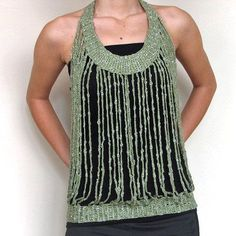 Crochet accessory in green and silver by nnermin on Etsy. I like how it looks in the front, when I went to the site to see the back it wasn't nearly as nice, hm