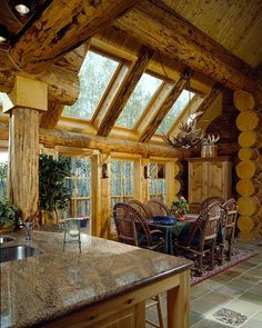 Montana Log Homes - skylight possibilities-love the logs too!