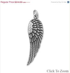 NOW ON SALE Sterling Silver Angel Wing Charm by jewelrymandave
