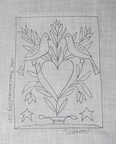 "Primitive Punch Needle Pattern ""Lovebirds"" 2 Doves Sampler | eBay"