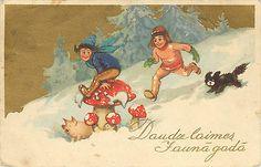 daudz laimes jauna gada Latvian New Years postcard. Amanita Mushroom pig child