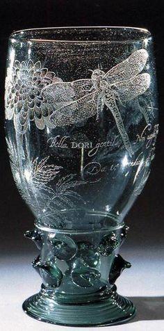 VISSCHER, Anna Roemers engraved goblet 1640s                                                     ☼