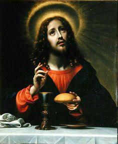 «Enquanto comiam, Jesus tomou um pão e o benzeu, e o partiu, e deu-o a seus discípulos, dizendo: «Tomai e comei, isto é o meu corpo.» Depois, tomando um cálice, deu graças, e deu-lho, dizendo: «Bebei dele todos. Porque isto é o meu sangue, o sangue da nova aliança, que será derramado por muitos para remissão dos pecados. Digo-vos: desta hora em diante não beberei mais deste fruto da videira até aquele dia, em que o beberei de novo convosco no reino de meu Pai» (Mat. 26, 26-29).