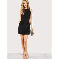 SheIn(sheinside) Faux Feather Bottom Dress (28 BAM) ❤ liked on Polyvore featuring dresses, embellished dress, short dresses, embellished cocktail dresses, sleeveless sheath dress and night out dresses