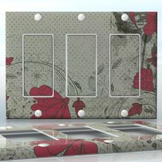 DIY Do It Yourself Home Decor - Easy to apply wall plate wraps | Twilight Blossoms Grey background and red flowers wallplate skin sticker for 3 Gang Decora LightSwitch | On SALE now only $5.95