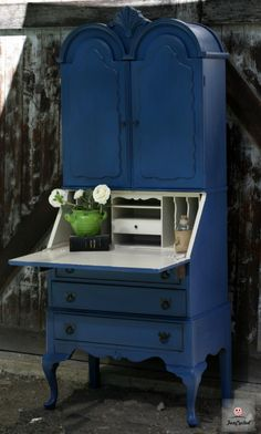 Navy and Cream Secretary Desk by FunCycled  www.funcycled.com