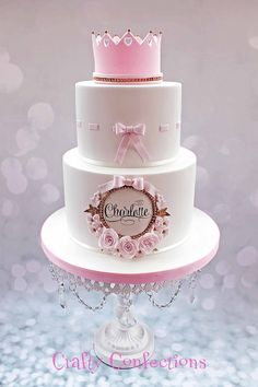 Charlotte 2 tier princess Christening cake | by Crafty Confections