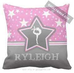 Golly Girls: Personalized Gymnastics Among The Stars Throw Pillow only from gollygirls.com