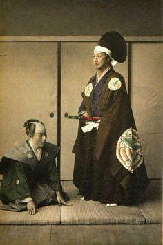 Shinto leader (?) samurai (?) and retainer. http://www.pinterest.com/yoshihiroogawa/rising-japan/