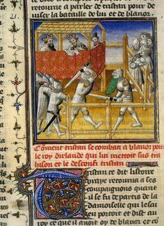 Tristan de Léonois - BNF Français 100  F. 65v ...Paris, France (1400 - 1425)