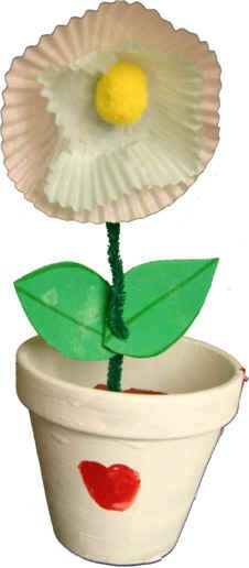 Muffin Flower Pot Craft--Mother's DAy or Spring craft Spring Projects, Spring Crafts, Holiday Crafts, Toddler Crafts, Preschool Crafts, Crafts For Kids, Crafty Kids, Crafty Craft, Flower Pot Crafts