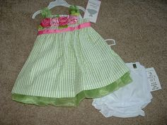 NEW Baby Girl Rare Editions Boutique Rosette Dress Set Size 12 18 Months 18M NWT #RareEditions #DressyHolidayWedding
