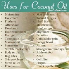 Coconut oil This is amazing stuff for hair, nails and skin! I have been using organic coconut oil treatments on my hair and it has improved the look and feel 100%! I use it on my nails and cuticles twice daily! I am amazed with the results :)