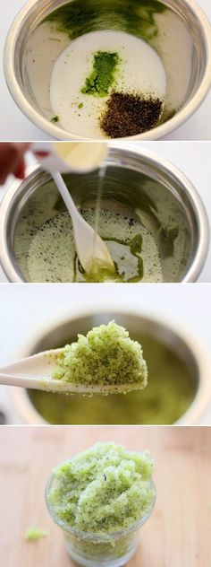 Use green tea as a body scrub, natural body scrub with a natural remedy for fighting cellulite and remoing toxins.