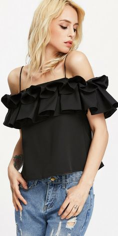 Flounce Trim Blouse Women Black Cold Shoulder Sexy Ruffle Cute Summer Tops Fashion Layered Elegant Strappy Blouse Oh Yeah Visit our store Fashion 2017, Girl Fashion, Fashion Outfits, Cute Summer Tops, Layered Fashion, Beautiful Blouses, Trends, Trendy Tops, Ruffle Top