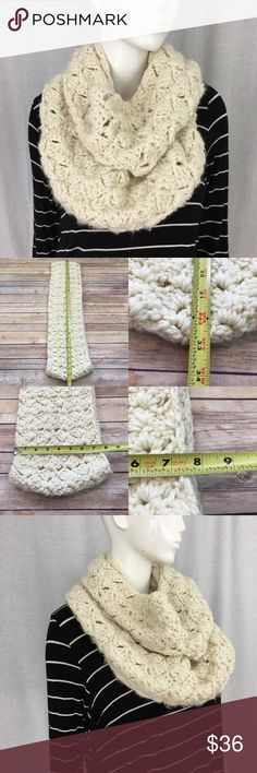 Handmade Crocheted Wide Ivory Warm Infinity Scarf • Measurements are in photos  • Material tag is in photos • Normal wash wear, no flaws • handmade, I wore once • circle, infinity  • Thick  D3/P  Thank you for shopping my closet! Accessories Scarves & Wraps