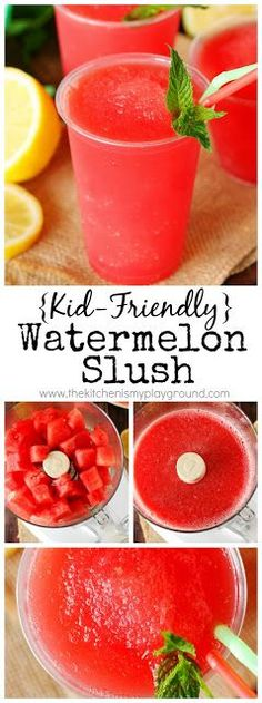{kid friendly} watermelon slush ~ super tasty super easy to make too! the kids will love to help make this slush that s perfect for warm weather sipping thekitchenismyplayground com top 15 healthy recipes for kids meals Watermelon Smoothies, Watermelon Recipes, Smoothie Drinks, Watermelon Slushie, Lemonade Slushie, Frozen Watermelon, Strawberry Lemonade, Kid Drinks, Beverages