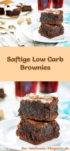 Saftige Brownies - Low-Carb-Rezept ohne Zucker - Low Carb Kuchen Rezepte - Recipe for juicy low carb brownies – low in carbohydrates, reduced in calories, without sugar and flour Paleo Dessert, Dessert Recipes, Paleo Brownies, Chocolate Brownies, Healthy Low Carb Recipes, Low Carb Desserts, Healthy Nutrition, Vegetarian Recipes, Brownie Recipes