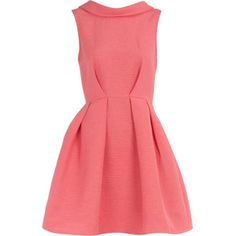 Dorothy Perkins Coral Sleeveless Structured Dress with v-back, back zip fastening and collar detail.