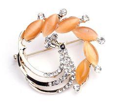 3x3cm Multicolor Phoenix Alloy Acrylic Diamond Fashion Modern   Brooch