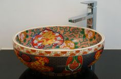 Round Bathroom Cloakroom Ceramic Counter Top Dragon Wash Basin Sink Washing Bowl