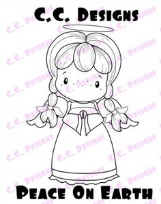 C.C. Designs - Cling Mounted Rubber Stamp - Swiss Pixie Peace On Earth,$6.99