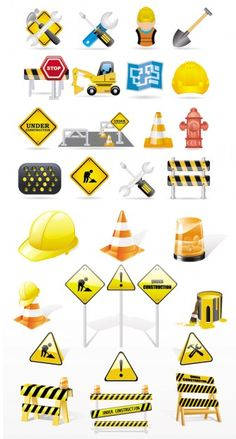 {exquisite construction traffic icon} vector
