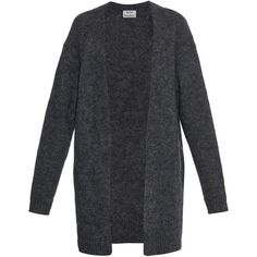Acne Studios Raya mohair and wool-blend oversized cardigan ($398) ❤ liked on Polyvore featuring tops, cardigans, outerwear, sweaters, jackets, dark grey, knitwear, dark grey cardigan, acne studios and summer cardigan