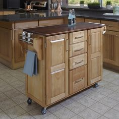 Cherry Top 4 Drawer Kitchen Cart