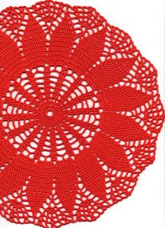 Crochet doily, lace doily, table decoration, place mat, napkin, red