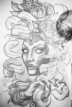 Scary.  Coloring page Scary Coloring Pages, Free Adult Coloring Pages, Scary Tattoos, Body Art Tattoos, Ozzy Tattoo, Medusa Tattoo Design, Tattoo Flash Sheet, Mystical Animals, Mythology Tattoos