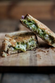 Pistachio-Parsley Pesto and Grilled Taleggio Cheese Sandwich.