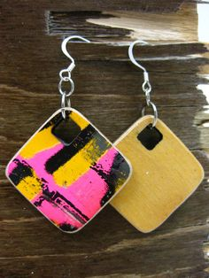 Can you guess what these earrings are made of? Reclaimed skateboards!