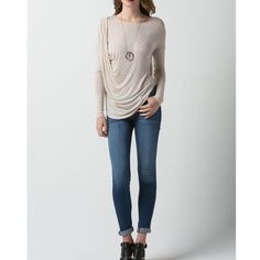 """Temperance"" Draped Side Long a Sleeve Top Long sleeve top with front drape detail. Simplicity is the ultimate sophistication. Junior sizing runs true to size. This listing is for OATMEAL. Brand new without tags. Bare Anthology Tops"