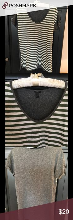 J Crew Gray and green T-shirt with rolled tacked sleeve; linen. J. Crew Tops