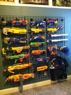 Preston's favorite toys are Nerf guns. Why not, then, actually have his toys more interactive by integrating them into his bedroom design? They then can look organized and be played with easily.