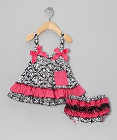 Take a look at this Hot Pink Damask Swing Top & Bloomers - Infant on zulily today!