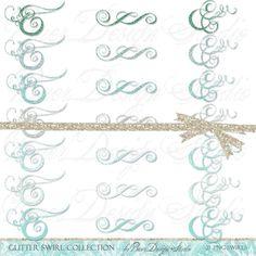 Turquoise Swirl Digital Clip Art, Teal Glitter Clip Art, Commercial Use Clip Art, Blue Glitter Swirls, Planner Clipart,  #16189 by BaerDesignStudio on Etsy