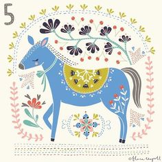 All I want for Christmas is this blue horse! Advent day 5 x #christmasadvent #illustration #florawaycott