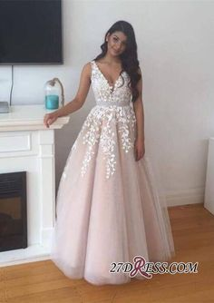 V-Neck Appliques Lace Gorgeous Tulle Prom Dress BA4883_High Quality Wedding Dresses, Prom Dresses, Evening Dresses, Bridesmaid Dresses, Homecoming Dress - 27DRESS.COM