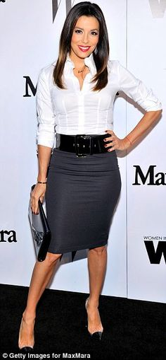 Eva Longoria attended the MaxMara and W Magazine cocktail party looking office chic in a tight grey skirt, white blouse, wide black belt, clutch bag and heels http://dailym.ai/1u769qu