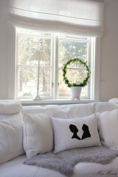 Living Room Window, Sofa, Pillows. White, Grey, Black, Chippy, Shabby Chic, Whitewashed, Cottage, French Country, Rustic, Swedish decor Idea. ***Pinned by oldattic ***.