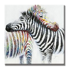 SEVEN WALL ARTS 100 Hand Painted Oil Painting Animal Colorful Zebra Modern Wall Art with Stretched Frame Ready to Hang 32x32 Inch *** Be sure to check out this awesome product. (This is an affiliate link)