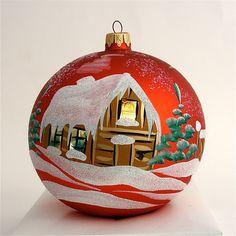 Hand Painted Christmas Ornament Glass Ball Holiday by aniamelisa, $18.90