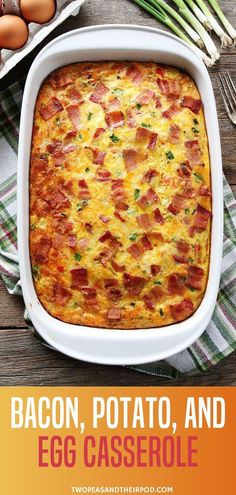 Bacon, Potato, and Egg Casserole The perfect breakfast recipe with eggs, bacon, and potatoes! This easy casserole can be prepared ahead of time and is a real crowd-pleaser. It is the best Christmas recipe that is easy to make. Save this pin for later! Easy Brunch Recipes, Easy Holiday Recipes, Egg Recipes For Breakfast, Breakfast Dishes, Egg Recipes For Dinner, Recipes For Eggs, Simple Egg Recipes, Meals With Eggs, Egg Dishes For Brunch