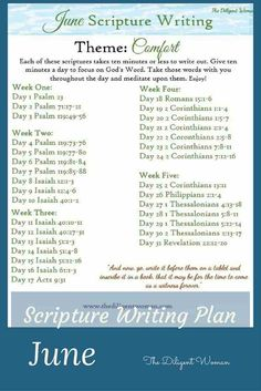 June Scripture Writing plan with Comfort as the theme. Write scriptures that show how God comforts His people and how His people comfort one another Bible Study Tips, Bible Study Journal, Scripture Journal, Journal Prompts, Journal Ideas, Journals, Writing Plan, Writing Challenge, Scripture Reading