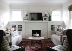 A Couple Returns to Their Hometown to Put Down Roots – Design*Sponge Bungalow Living Rooms, Home Living Room, Living Area, Living Spaces, Ultra Modern Homes, Random House, Fireplace Surrounds, Great Rooms, Interior Inspiration